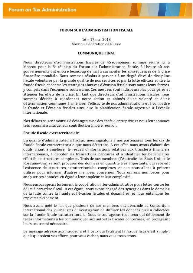 FORUM SUR L'ADMINISTRATION FISCALE16 – 17 mai 2013Moscou, Fédération de RussieCOMMUNIQUE FINALNous, directeurs d'administr...
