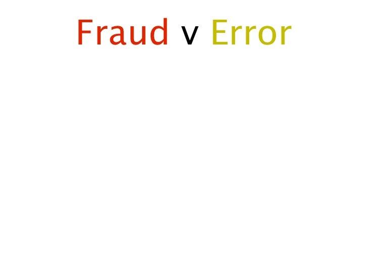 Fraud v Error