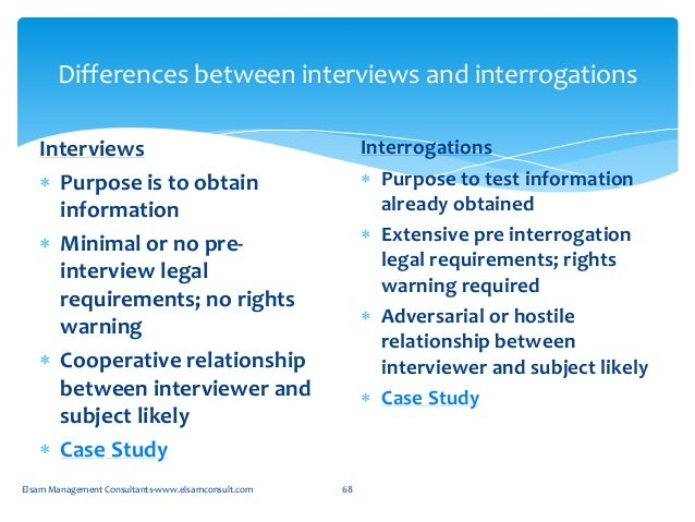 interview vs interrogation A concept we teach in our basic course is, if you're going to interview, interview if you're going to interrogate, interrogate there are two important.