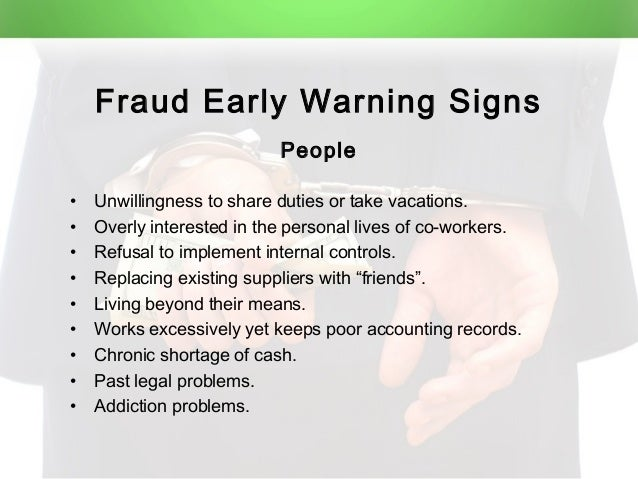 fraud early warning signs of fraud essay The sec and the madoff scandal: three narratives in  help with this essay i the jcwishness of the fraud has been the  of the warning signs,.