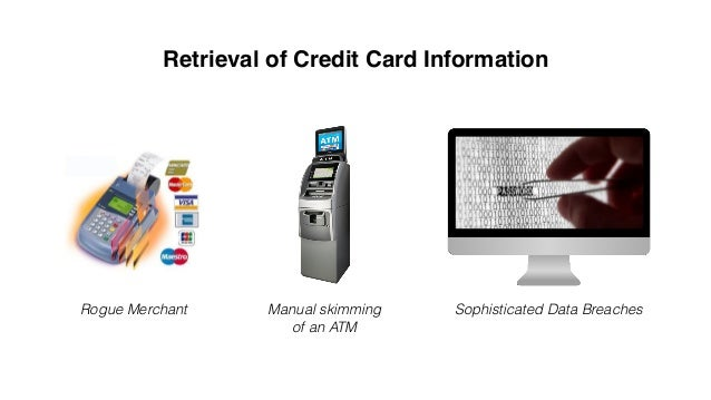 USE ISSUES Terminal ATM- skimming Data Breach Card Holder Card Issuer Fraudster USE $5MAKES $10 MAKES $2 MAKES MAKES $4000...