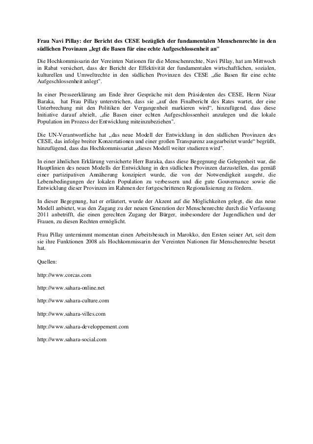 """Frau Navi Pillay: der Bericht des CESE bezüglich der fundamentalen Menschenrechte in den südlichen Provinzen """"legt die Bas..."""