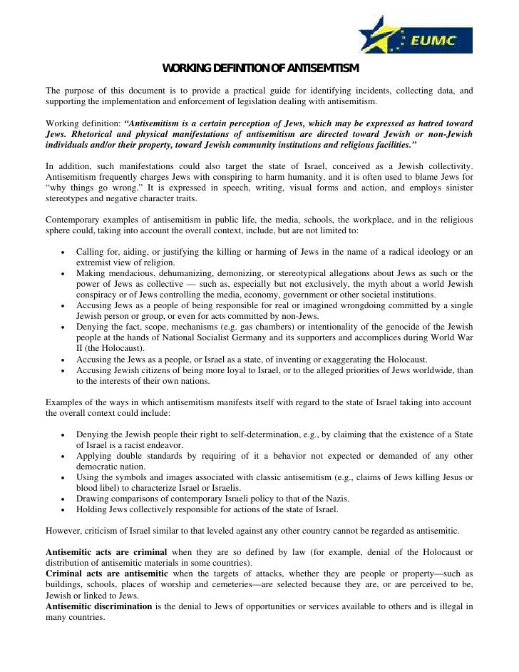 WORKING DEFINITION OF ANTISEMITISM The purpose of this document is to provide a practical guide for identifying incidents,...