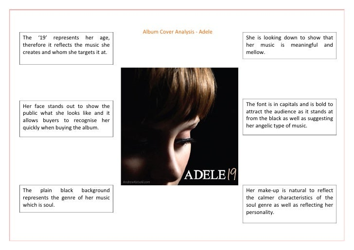 Album Cover Analysis - Adele The '19' represents her age,                                         She is looking down to s...