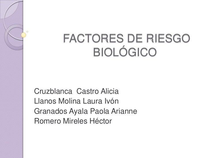FACTORES DE RIESGO            BIOLÓGICO   Cruzblanca Castro Alicia Llanos Molina Laura Ivón Granados Ayala Paola Arianne R...