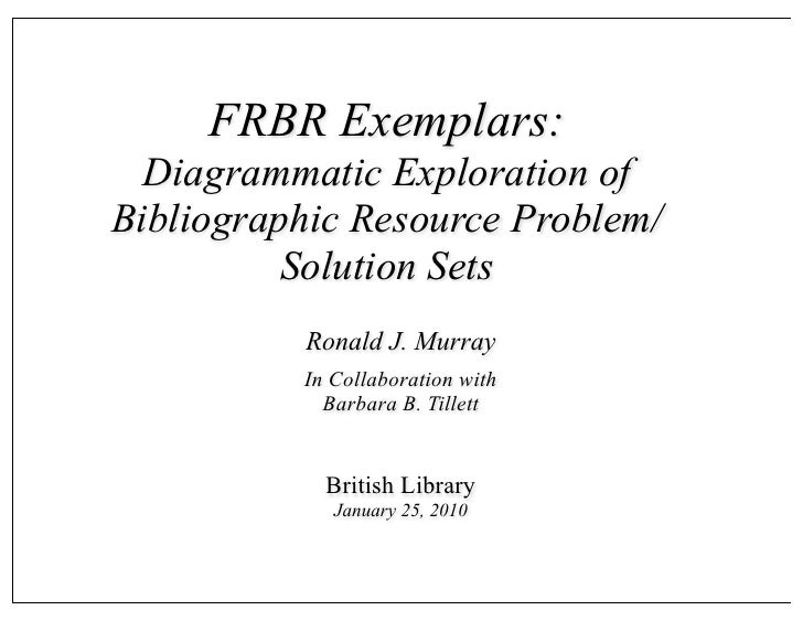 FRBR Exemplars: Exploration of Networks of Bibliographic Descriptions