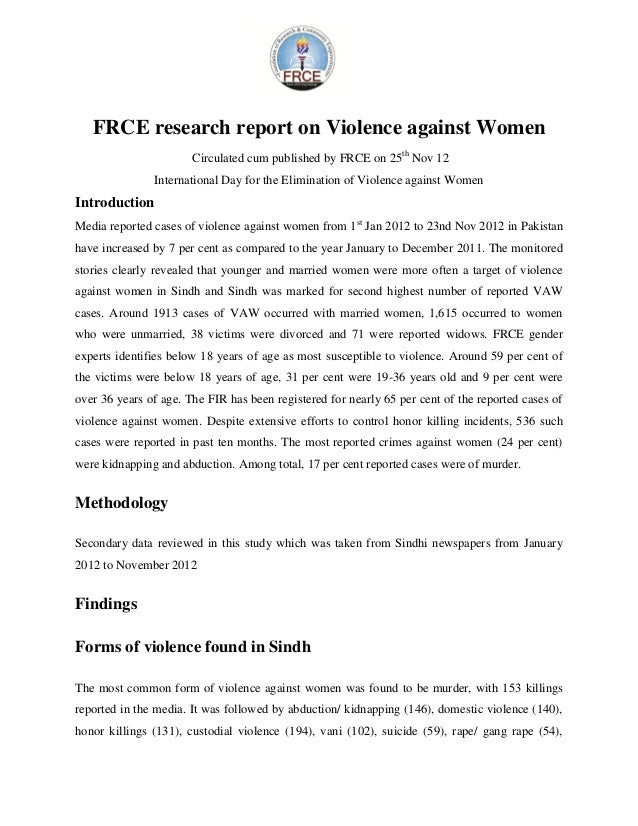FRCE research report on Violence against Women                       Circulated cum published by FRCE on 25th Nov 12      ...