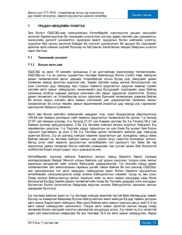 Монгол улс ТТТ-7970: Улаанбаатар хотын гэр хорооллын дэд төвийг хөгжүүлэх, хөрөнгө оруулалтыг дэмжих хөтөлбөр Эцсийн тайла...
