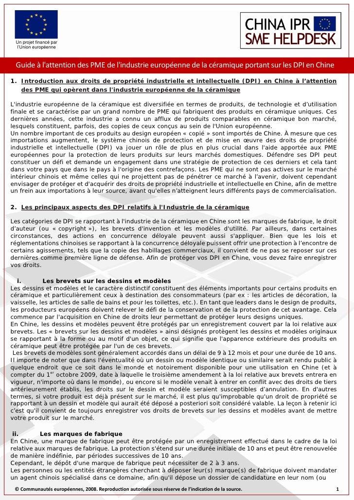 Un projet financé par  l'Union européenne     Guideàl'attentiondesPMEdel'industrieeuropéennedelacéramiqueportan...