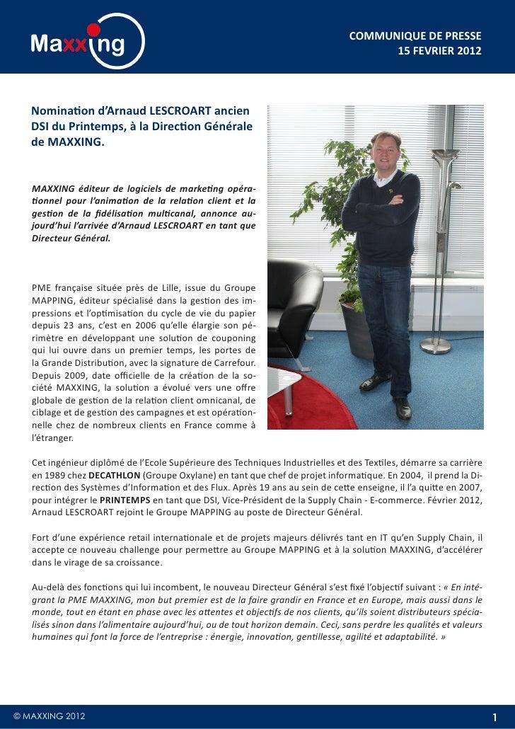 COMMUNIQUE DE PRESSE                                                                                       15 FEVRIER 2012...