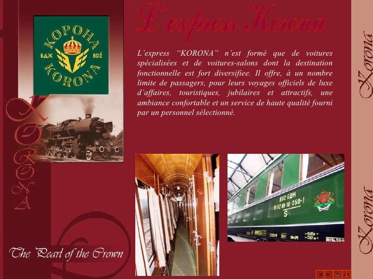 """L'express  """" KORONA """"  n'est formé que de voitures spécialisèes et de voitures-salons dont la destination fonctionnelle es..."""