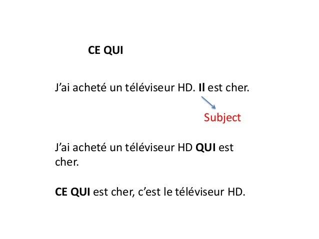 CE QUI J'ai acheté un téléviseur HD. Il est cher.  Subject J'ai acheté un téléviseur HD QUI est cher. CE QUI est cher, c'e...