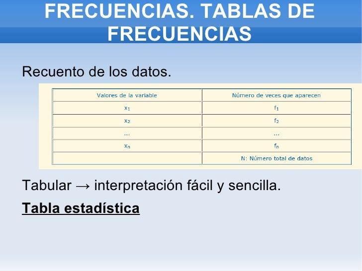 FRECUENCIAS. TABLAS DE FRECUENCIAS <ul><li>Recuento de los datos.
