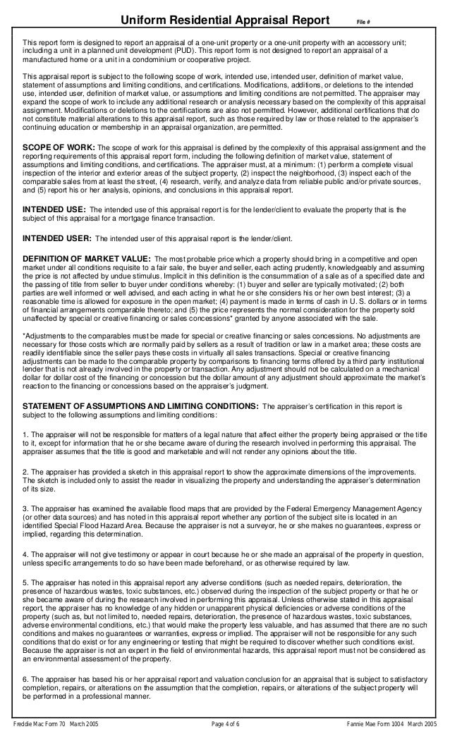 Freddie Mac Blank Appraisal - Form 70