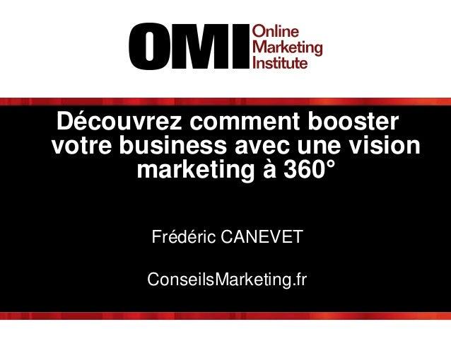 Découvrez comment booster votre business avec une vision marketing à 360° Frédéric CANEVET ConseilsMarketing.fr