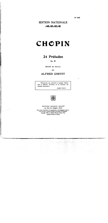 Frederic chopin   alfred cortot - edition de travail - 24 préludes