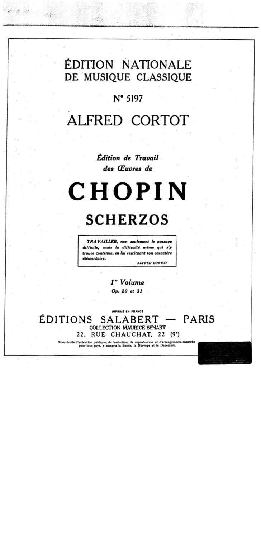 Frederic chopin   alfred cortot - edition de travail - scherzos - 1er volume