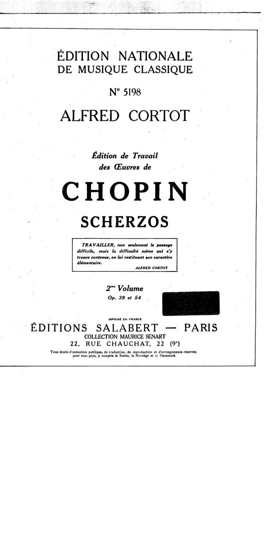Frederic chopin   alfred cortot - edition de travail - scherzos - 2eme volume
