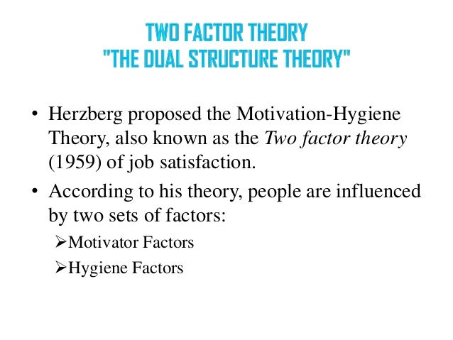 two factor theory of motivation Frederick herzberg 's two-factor theory of motivation | motivation-hygiene you should remember herzberg developed the two-factor theory of motivation from an outline learned in nearly 4,000 interviews when questioned what turned them on or pleased them about their.