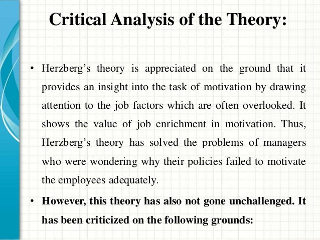 hertzberg theory of motivation When frederick herzberg researched the sources of employee  a brief review of my motivation-hygiene theory of job attitudes is required before theoretical and .