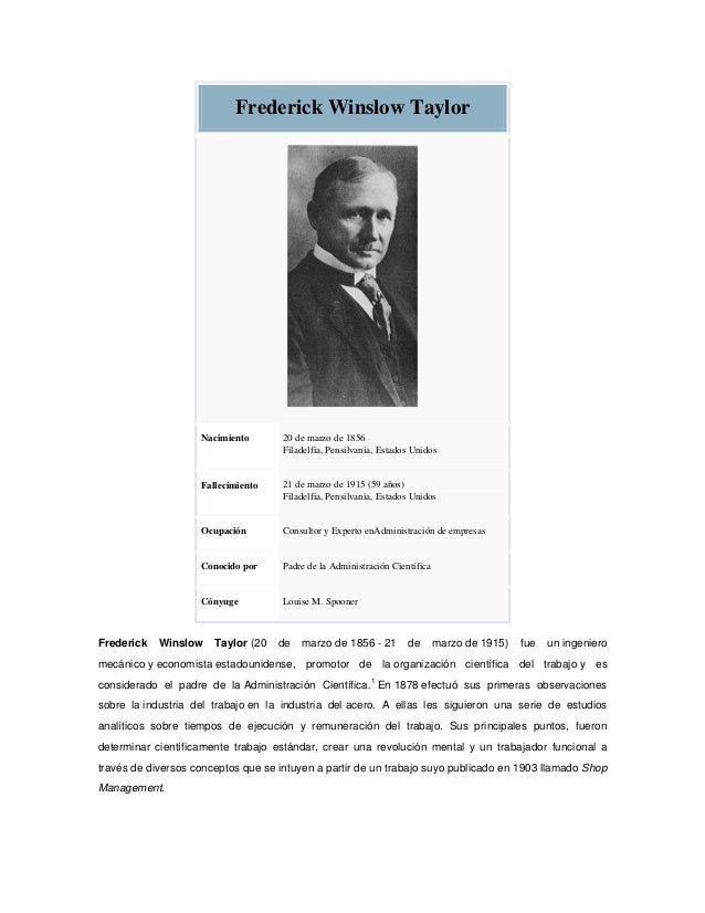 federick winslow taylor essay Frederick taylor's innovations in industrial engineering, particularly in time and  motion  what follows is a copy of part of a senior essay, written by vincenzo.