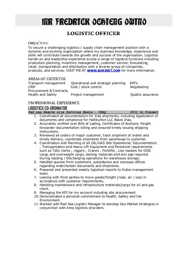 Fredrick ochieng cover letter for Cover letter for supply chain management
