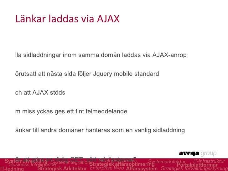 Länkar laddas via AJAX <ul><li>Alla sidladdningar inom samma domän laddas via AJAX-anrop </li></ul><ul><li>Förutsatt att n...