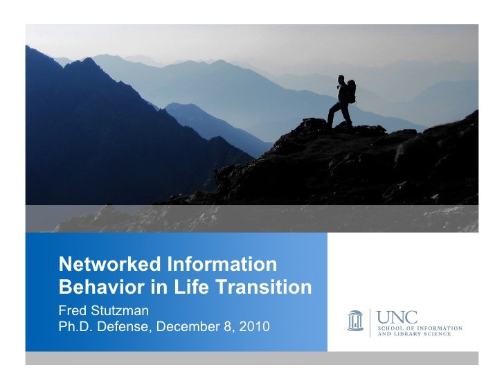 Networked InformationBehavior in Life TransitionFred StutzmanPh.D. Defense, December 8, 2010