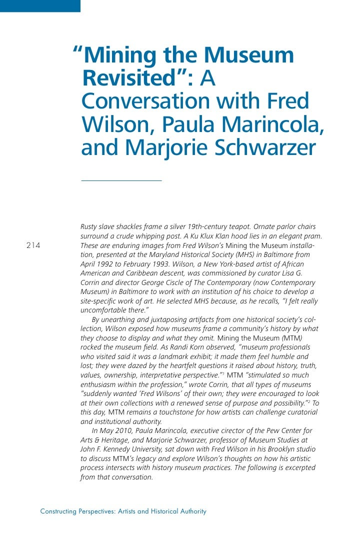 """""""Mining the Museum              Revisited"""": A              Conversation with Fred              Wilson, Paula Marincola,   ..."""
