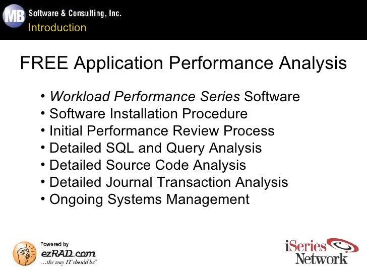 Introduction FREE Application Performance Analysis <ul><li>Workload Performance Series  Software </li></ul><ul><li>Softwar...