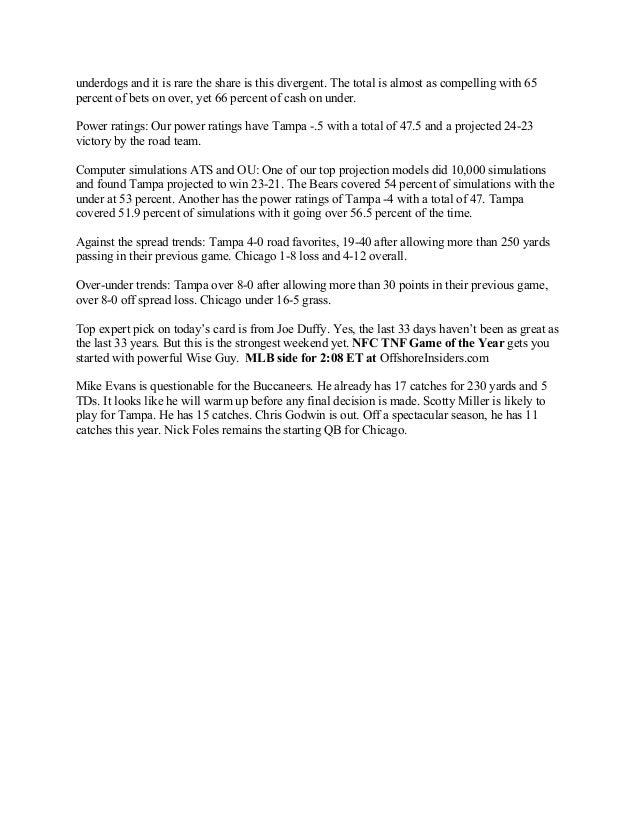 Tampa vs. Chicago Thursday Night Football Inside Info Slide 2