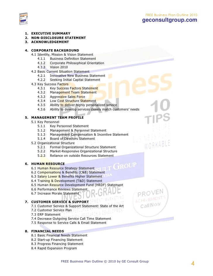 Free Business Plan Outline 2010