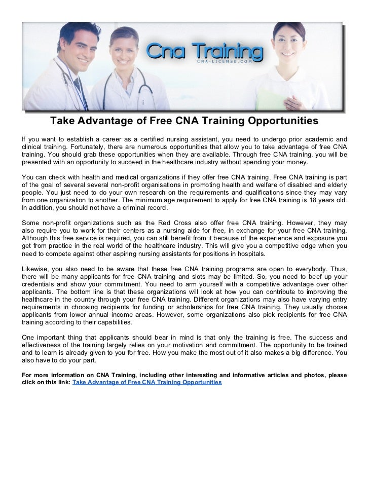 Take Advantage Of Free Cna Training Opportunities