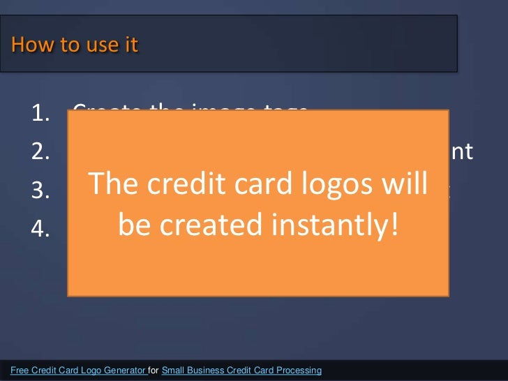 Free credit card logo generator for small business credit card proces 9 how to use reheart Image collections