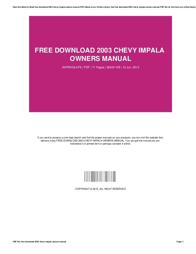 chevy impala 2003 manual