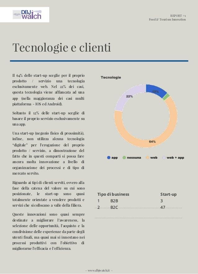REPORT #1 Food & Tourism Innovation - www.dbjwatch.it - Il 64% delle start-up sceglie per il proprio prodotto / servizio u...