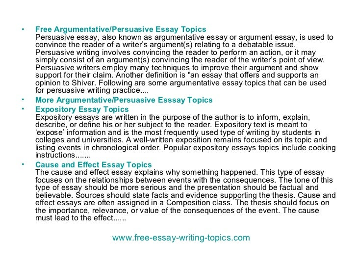 free essay topics for middle school