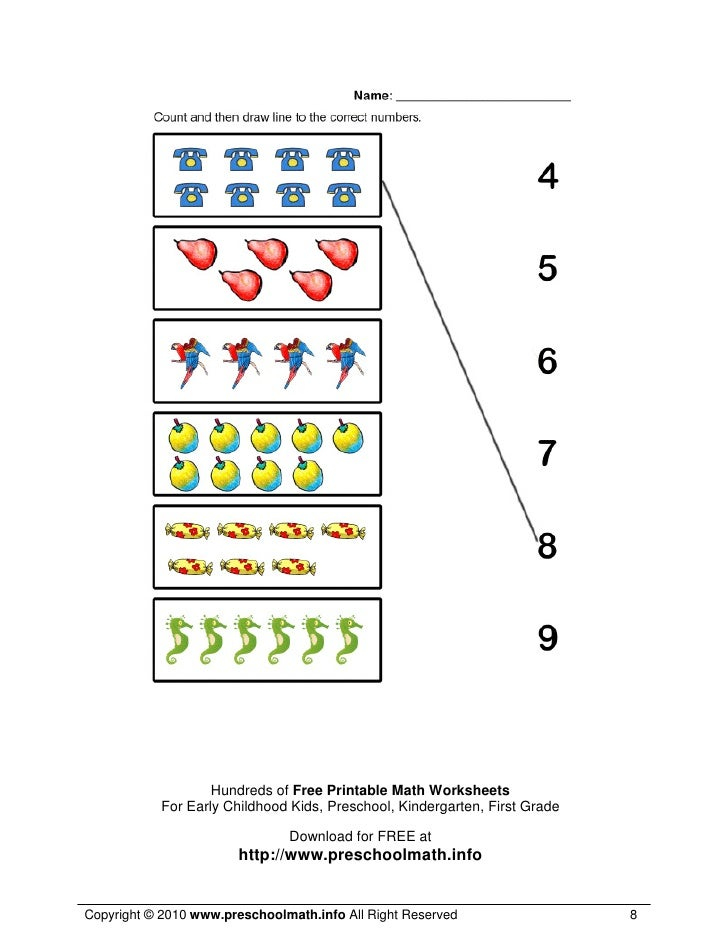 Math Worksheets For Kindergarten and Preschool – Free Printable Maths Worksheets for Kindergarten