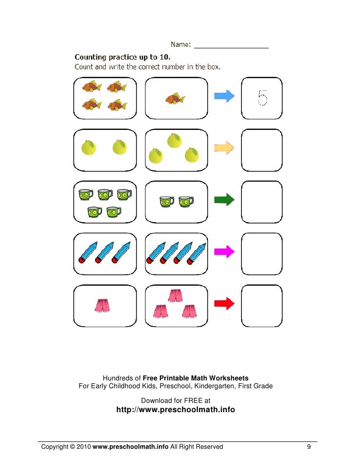 Math Worksheets For Kindergarten and Preschool – Printable Math Worksheet