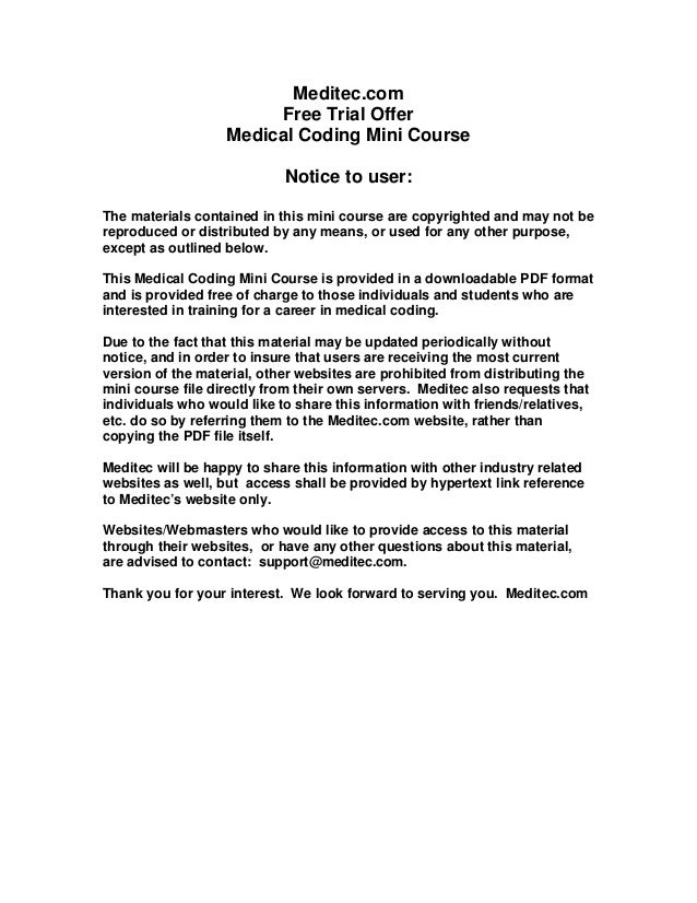 Free Medical Coding Course