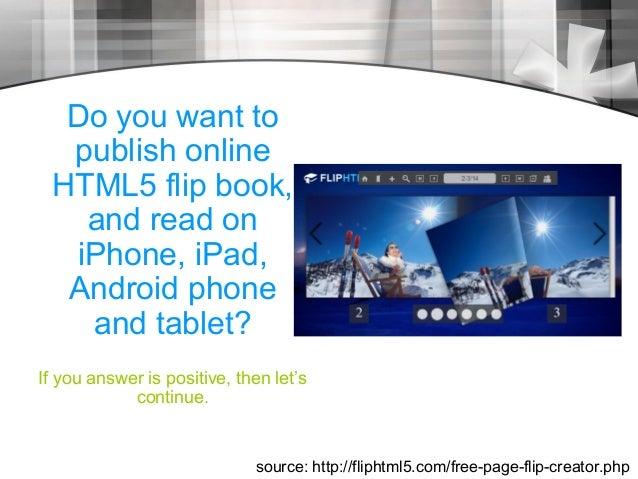 Flip HTML5 Free page flip creator to publish online html5