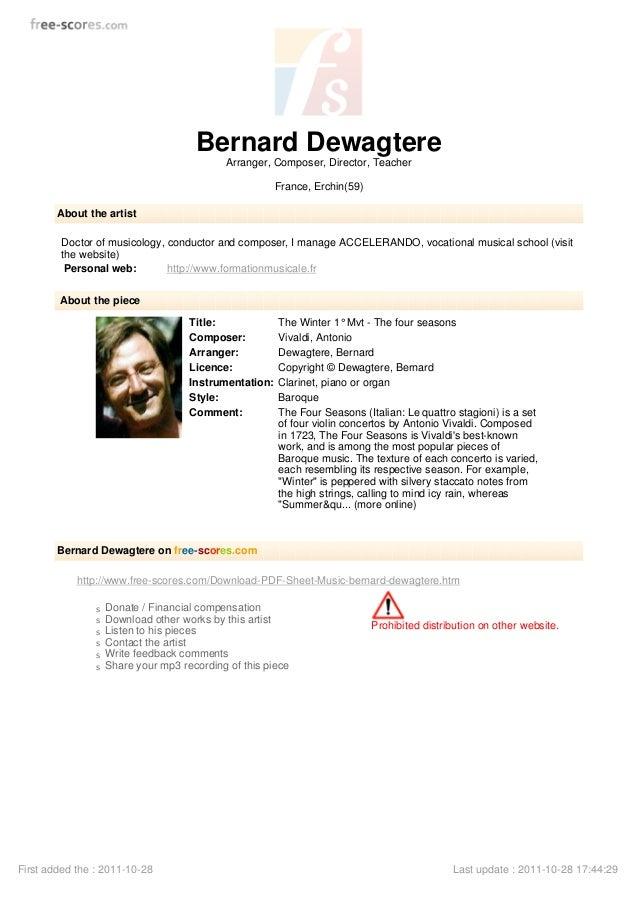 Bernard Dewagtere Arranger, Composer, Director, Teacher France, Erchin(59) About the artist Doctor of musicology, conducto...