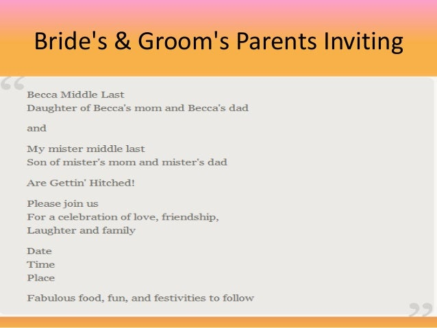 Wedding invitation with groom's parents