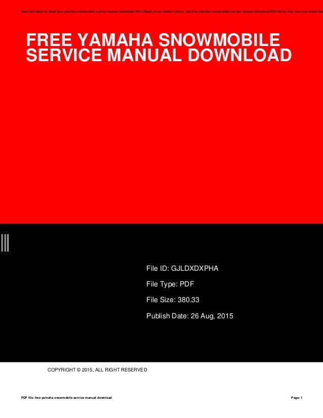 Free yamaha-snowmobile-service-manual-download
