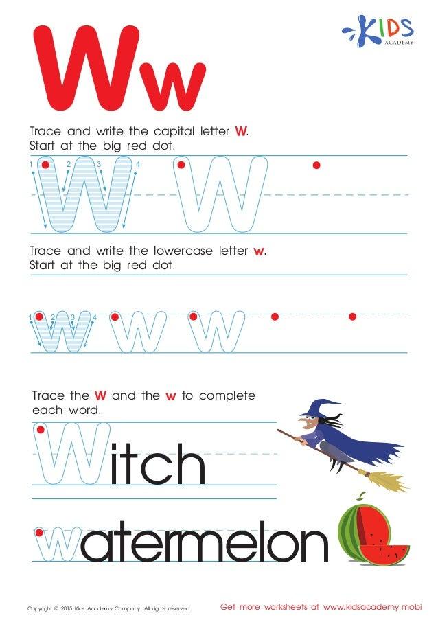 Free alphabet worksheets for kids az – W Worksheets for Kindergarten