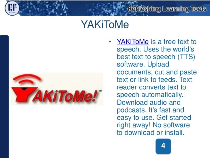 Free and Open Source Text to Speech Tools for e-Learning