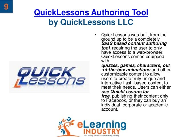 9    QuickLessons Authoring Tool       by QuickLessons LLC                  •   QuickLessons was built from the           ...