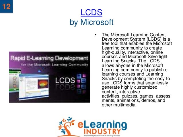 12        LCDS     by Microsoft           •   The Microsoft Learning Content               Development System (LCDS) is a ...