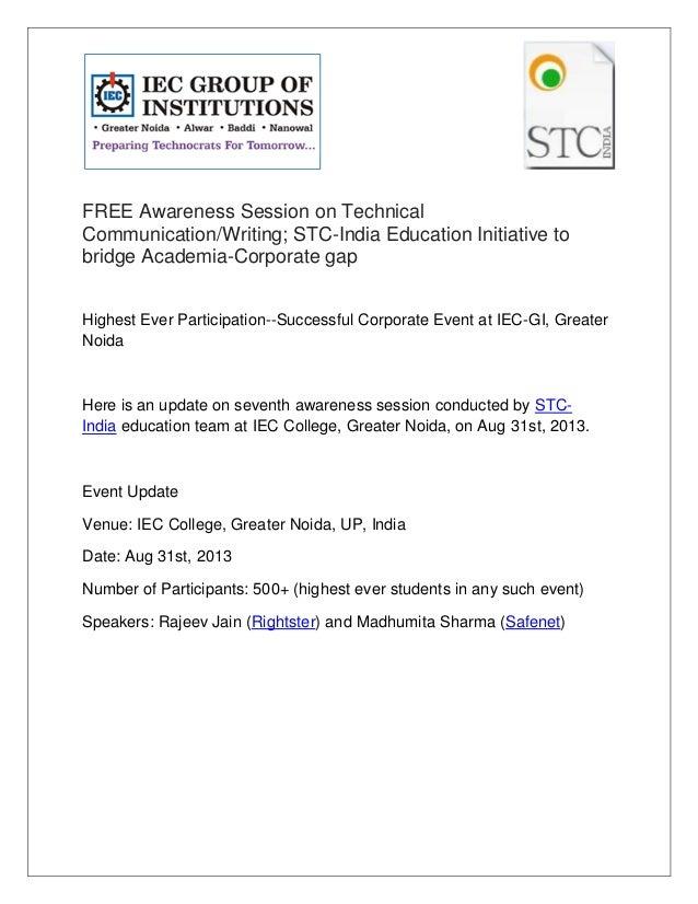 FREE Awareness Session on Technical Communication/Writing; STC-India Education Initiative to bridge Academia-Corporate gap...