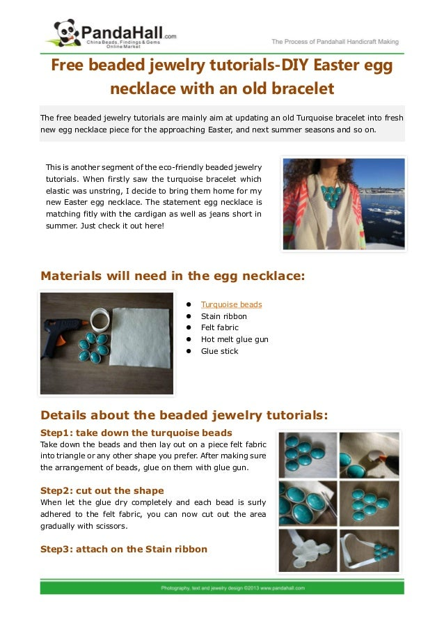 Free beaded jewelry tutorials-DIY Easter egg         necklace with an old braceletThe free beaded jewelry tutorials are ma...